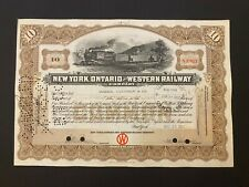 1922 New York, Ontario & Western Railway Stock Certificate WNY Large Train Vig