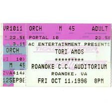 TORI AMOS Concert Ticket Stub ROANOKE VA 10/11/96 AUDITORIUM DEW DROP INN TOUR