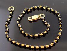 "Black Beads Length 8"" Gift Item 22K Solid Gold Elegant Charm Bracelet With"