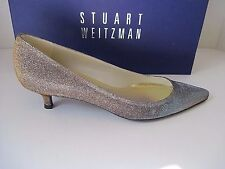 Stuart Weitzman Poco Pyrite Nocturn Women's Evening Kitten Heel Pumps 4 B NEW