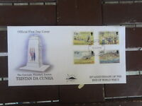 TRISTAN DA CUHN OFFICIAL FDC 50TH ANNIV OF END OF WWII SET OF 4 STAMPS