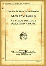1930s Original MASSEY HARRIS Tractor Rake & Tedder Setting Up & Operating Manual