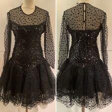 Preloved - Stunning Vintage Frank Usher Black Sequinned Lace Dress - Sz Small