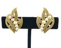 Crown Trifari Earrings - Vintage Faux Pearl Rhinestone Gold-Tone Leaves Clip-On