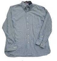 Izod Button Down L/S Striped Cotton Mens Shirt M Blue Green White Stripe SZ M
