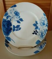 "222 Fifth Indigo Rose Light Dinner Plates 11"", Bone China Set Of 2 EUC"
