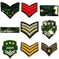 ARMY PATCH STRIPES MILITARY BADGE EMBROIDERED SEW USA APPLIQUE FABRIC PATCHES