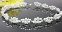 Glass Jewels Elegante Silber Wellen Kette Collier Halskette Perlen Weiß #MA007
