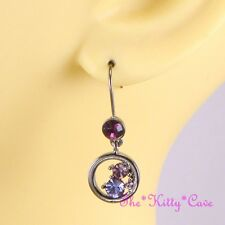 Hematite Purple, Pink & Violet Chic Drop Dangle Earrings w/ Swarovski Crystals
