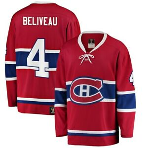 Men's Montreal Canadiens Jean Beliveau Premier Breakaway Heritage Red NHL Jersey