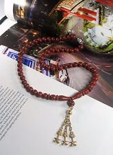 Vintage Art Deco Natural Red Agate Carnelian Beads Necklace With Drop Pendant