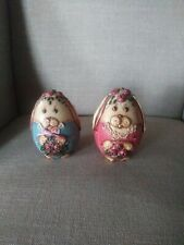 hand crafted painted designer wooden bunny eggs 1992 signed and mark