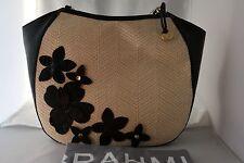 BRAHMIN Miramonte Collection Large Raffia Floral Thelma Hobo / Bag - Black