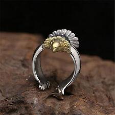 Cool 925 Sterling Silver Golden Eagle Ring Band for Punk Rocker Biker Men Gift