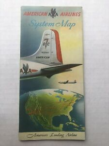 1956 American Airlines DC-7 Poster Size Route Map Travel Brochure
