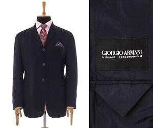 Mens GIORGIO ARMANI Blazer Coat Jacket Silk Navy Blue Size 44 54