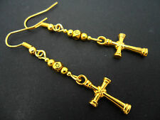 A PAIR OF GOLD COLOUR DANGLY CROSS  DANGLY EARRINGS.  NEW.