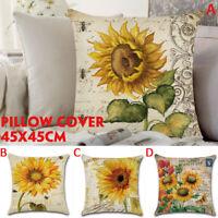 18X18'' Cotton Linen Pillow Cover Sunflower Sofa Throw Cushion Bed Pillow Cases