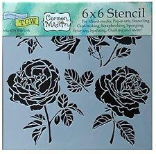 Rose Flowers Stencil Garden Roses Floral Leaf Art Template Crafters Workshop 6x6