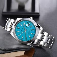 Parnis Blue Dial Men's Watches Calendar Miyota Automatic Mechanical Mens Watch