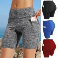 Women High Waist Pocket Yoga Shorts Gym Biker Cycling Hot Pants Sports Leggings