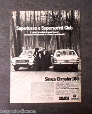 P168 - Advertising Pubblicità -1972- SIMCA CHRYSLER 180 , SUPERSPRINT CLUB