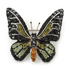 Small Black, Green,Olive, Orange Austrian Crystal Butterfly Brooch In Silver Ton