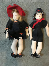 Pair of Vintage Primitive Style Folk Art Rag Dolls