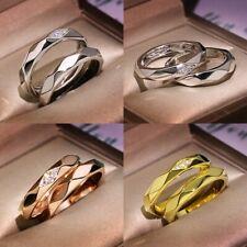 Fashion Stainless Steel Wedding Couple Women Men Engagement Band Ring Size 5-10