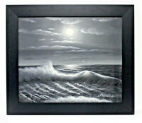 Black White Seascape 20 x 24 Art Oil Painting on Canvas w/Custom Frame