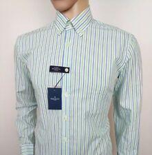 Hackett London Mens Shirt Brompton Slim Fit Oxford Green Blue Stripe New RRP£115