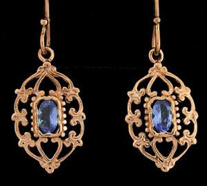 E069 Genuine 9K Rose Gold NATURAL Tanzanite Filigree Earrings Ornate Drops