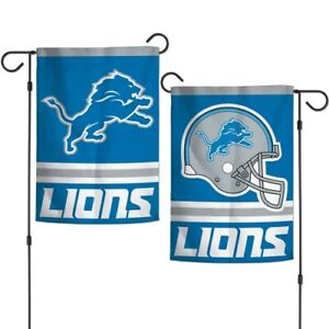 """DETROIT LIONS NFL 2-SIDED GARDEN FLAG 12.5"""" X 18"""" INDOOR/OUTDOOR NEW PACKAGE"""