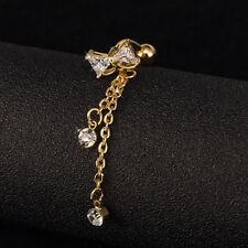 Hot Reverse Bowknot Belly Ring Dangle Clear Navel Bar Gold Body Jewelry Piercing