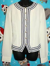 SILHOUETTE WOMEN'S L IVORY & NAVY BLOUSE BUTTON UP LONG SLEEVE *EUC*