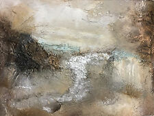ORIGINAL LANDSCAPE PAINTING SILVER ART HEAVY TEXTURED NEUTRAL ART MINT GREEN OIL