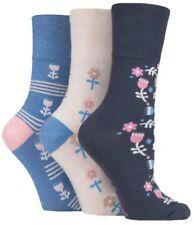 6 Pairs Ladies Grey Blue Cream Floral Cotton Gentle Grip Socks, UK Size 4-8