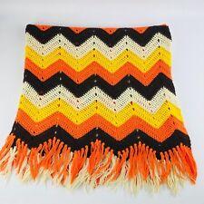 Vtg Afghan Yellow Orange Brown Cream Chevron Zig Zag Blanket Fringe Homemade