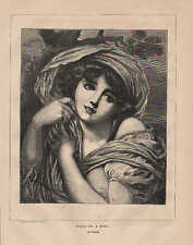 Nude, Pretty Lady, Head Of A Girl, by Greuze, Vintage, 1869 Antique, Art, Print.