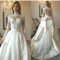 Long Sleeve Bridal Gown Lace Applique High Neck Wedding Dress Custom Size