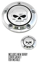 Chrome Willie G Skull Derby And Timer Covers Street Glide FLHX Softail Harley