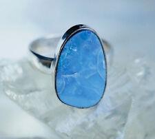 Silberring 59 Edelopal Boulder Opal Freiform Oval Ring Silber Groß Blau Schlicht