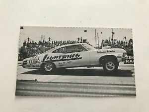 VINTAGE 1967 'WHITE LIGHTNING' 1967 SUPER-SPORT IMPALA NHRA POSTCARD