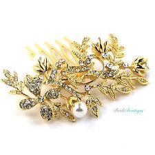 Boda nupcial Vintage Vid De Flor De Cristal Y Perla Oro Peine del pelo diapositiva Hc12
