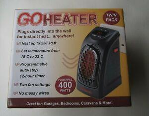 GO HEATER - X2 PORTABLE 400W ELECTRIC CERAMIC FAN HEATERS BOXED