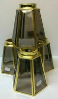 Vintage Beveled Smoky Glass Brass Light Shade New