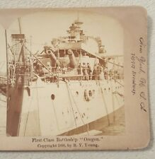 American Stereoscopic Company 1898 Stereoview Card Battleship Oregon R.Y. Young