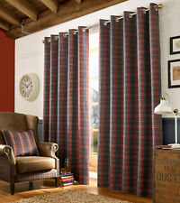 "Archie Denim Check Tartan Ready Made Eyelet Fabric Curtains 46"" x 72"""