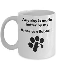 American Bobtail Cat Mug Coffee Tea Paw Print Cat Lover Furbaby