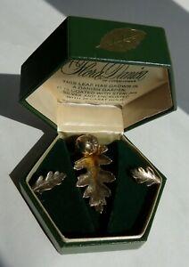 Flora Danica of Copenhagen Oak Leaf Brooch and Clip-on Earring set #112